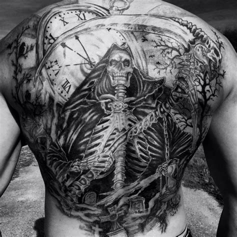 tattoo back death backtattoo reaper time clock pocketwatch demons