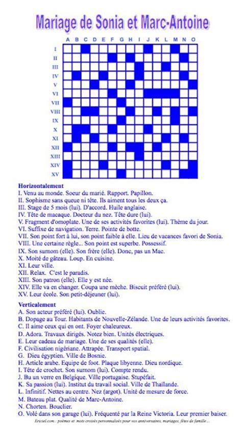 Puzzle Tombol Tranport une grille de mots crois 233 s pour les mari 233 s par ericiel