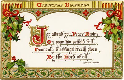 Black Friday Home Decor by Christmas Blessings Free Vintage Postcard Graphic Old