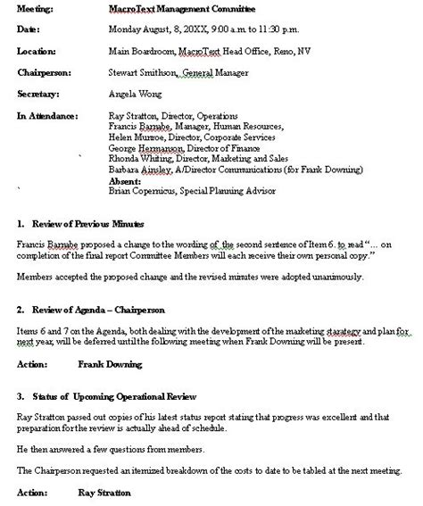 Minute Book Briefformat meeting minutes sle format for a typical meeting