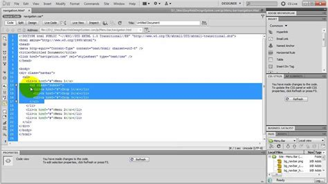 dreamweaver tutorial navigation bar create a css drop down menu in dreamweaver youtube