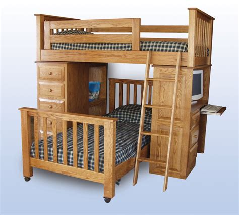 Wood Bunk Bed With Desk Loft Bed Desk Combo Furniture Homesfeed