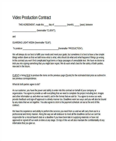 production contract samples templates