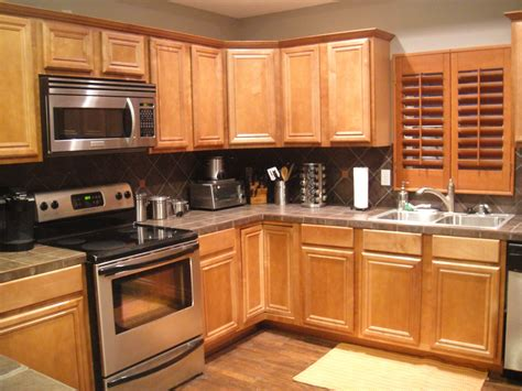 kitchen floor and counter tops with pine cabinets kitchen kitchen grey wall paint and brown wooden oak cabinet on