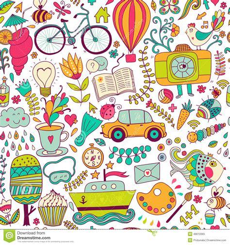 doodle pattern school vector seamless pattern childish doodles pattern set of