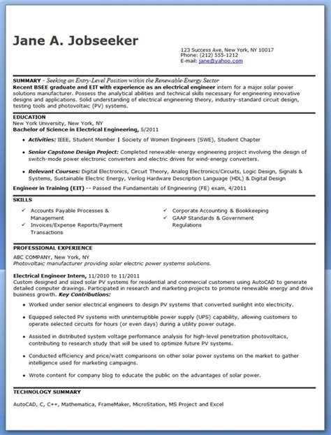 Resume Exles Entry Level Engineering Electrical Engineer Resume Sle Pdf Entry Level