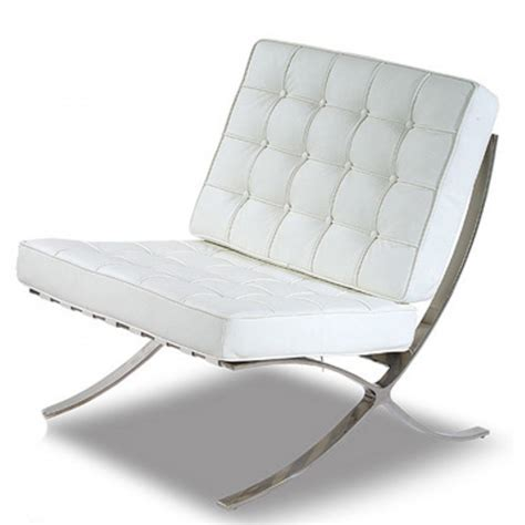 White Leather Living Room Chair - barcelona cool white leather chrome chair living room