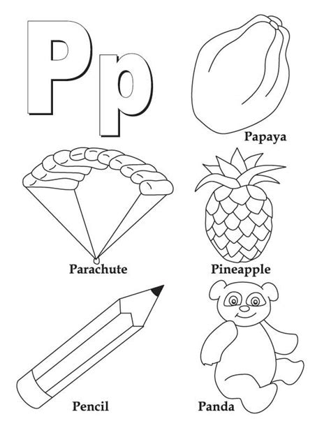 P Coloring Pages by My A To Z Coloring Book Letter P Coloring Page