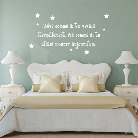 stickers muraux citations chambre sticker citation r 234 ve comme si tu vivais 233 ternelement
