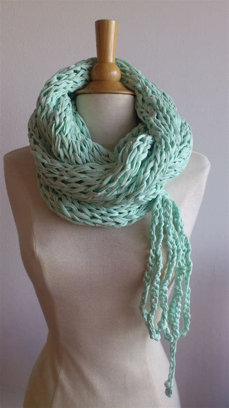 t shirt yarn cowl pattern light green cowl with bow made from t shirt yarn ooak