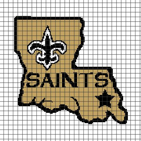 crochet pattern saints logo new orleans saints chart graph and row by row written