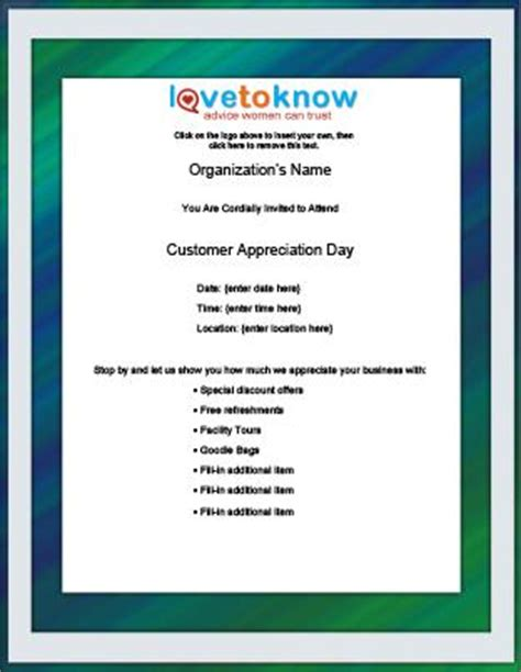 Free Flyer Templates Lovetoknow Customer Appreciation Event Invitation Template