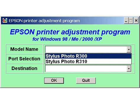 Epson R300 R310 Printers Service Program Service
