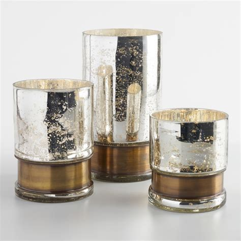 Silver And Glass Hurricane Candle Holders Silver Mercury Glass Hurricane Candleholder With Brass