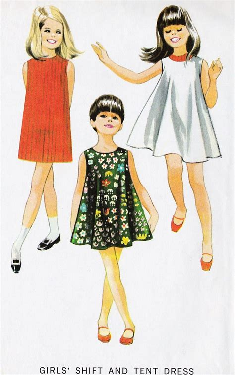 vintage style childrens 1960s girls shift and tent dress vintage sewing summer