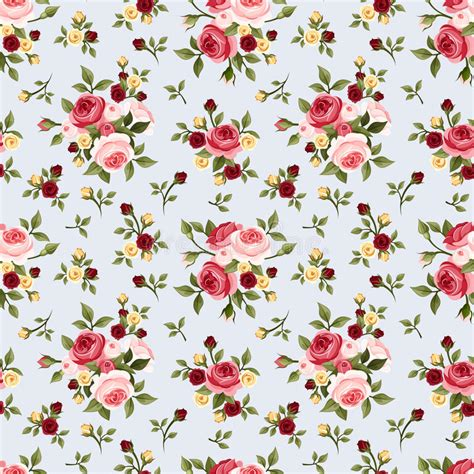 english rose pattern vector vintage seamless pattern with pink roses on blue vector