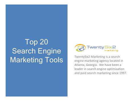 Top Search Engine Top 20 Search Engine Marketing Tools