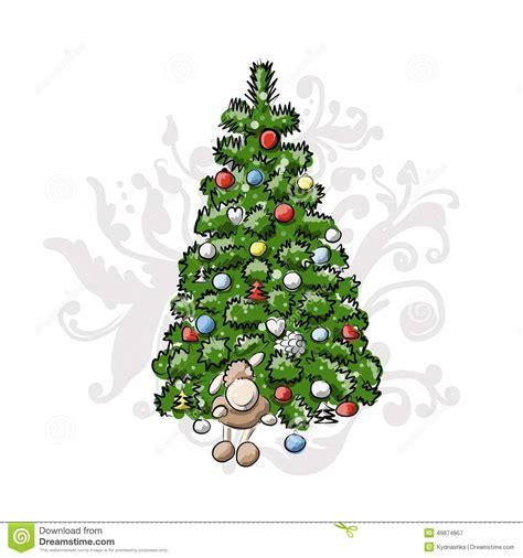 d nger f r weihnachtsbaum weihnachtsbaum skizze f 252 r ihr design vektor abbildung bild 49874857