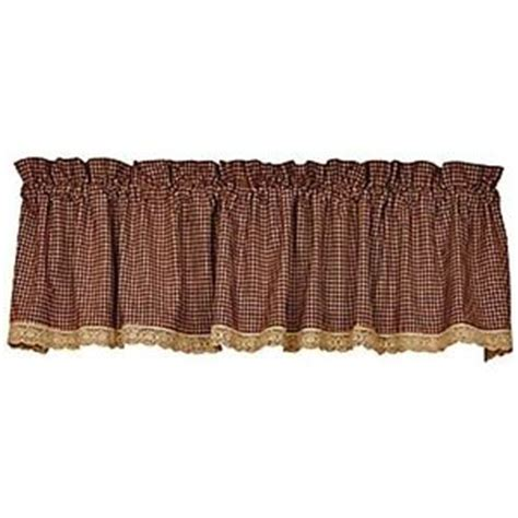 Burgundy Lace Valance New Primitive Country Gingham Burgundy Check Lace