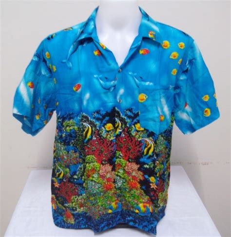 fish pattern hawaiian shirts mens hawaiian shirt hawaii bermuda coral theme angel fish