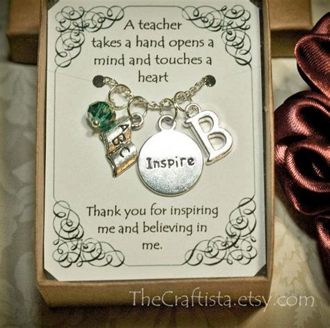 personalized teacher necklace with birthstone and initial