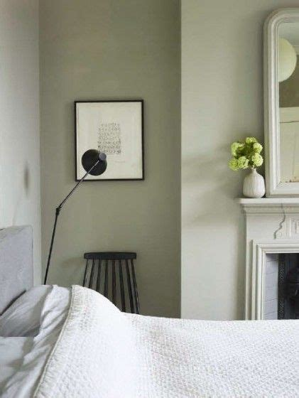 sage green and grey bedroom victorian house london painted black mid century chair
