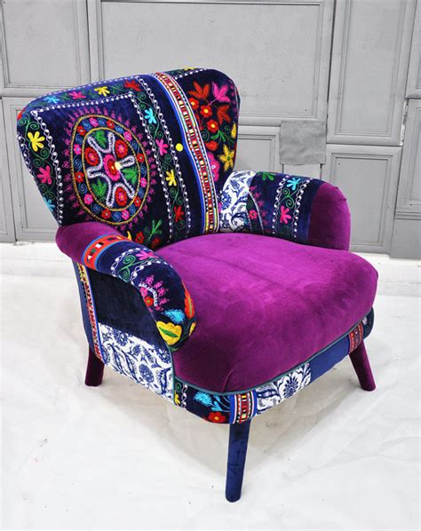 funky armchair patchwork armchair with suzani fabrics from name design studio