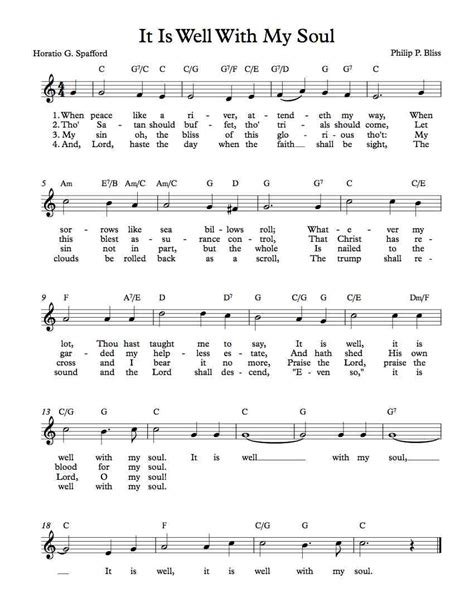 soul tattoo chords free sheet music free lead sheet it is well with my