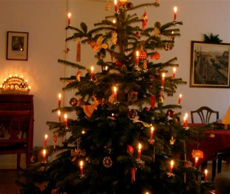 old german christmas lights two candlelit trees the unbroken threadthe unbroken thread