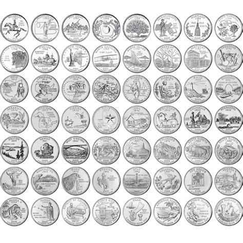 printable quarter collector 1999 2009 complete uncirculated state quarter