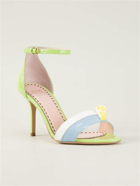 Cheap Or Chic Challenge Patent Ankle Wedges by Moschino Cheap Chic Strappy Sandal In Multicolor Green