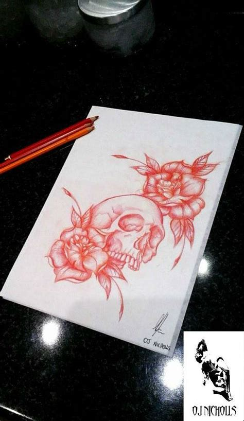 skull and roses neo traditional by onichollsart on deviantart
