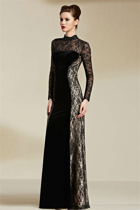 long sleeve lace prom dresses high neck lace see through long sleeve evening dresses