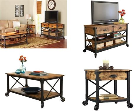 stand l set rustic living room set coffee table tv stand nightstand