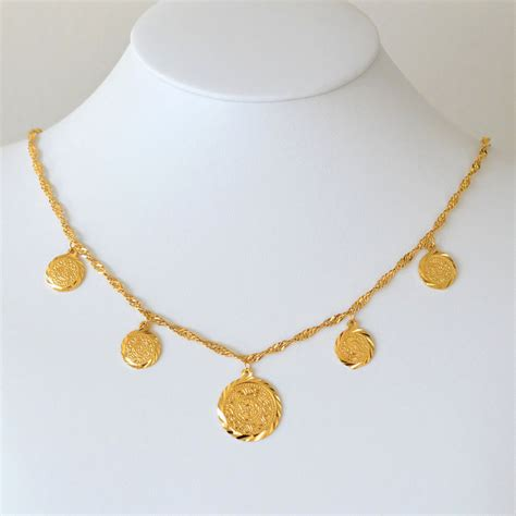 persian coin necklace pendant 19 5 inches 24k gold plated