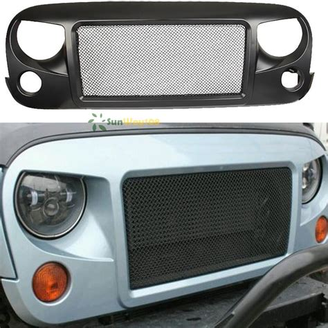 jeep mesh grill front grille metal mesh for jeep wrangler 2007 2015 abs