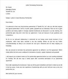 templates for letters 9 partnership termination letter templates free sle