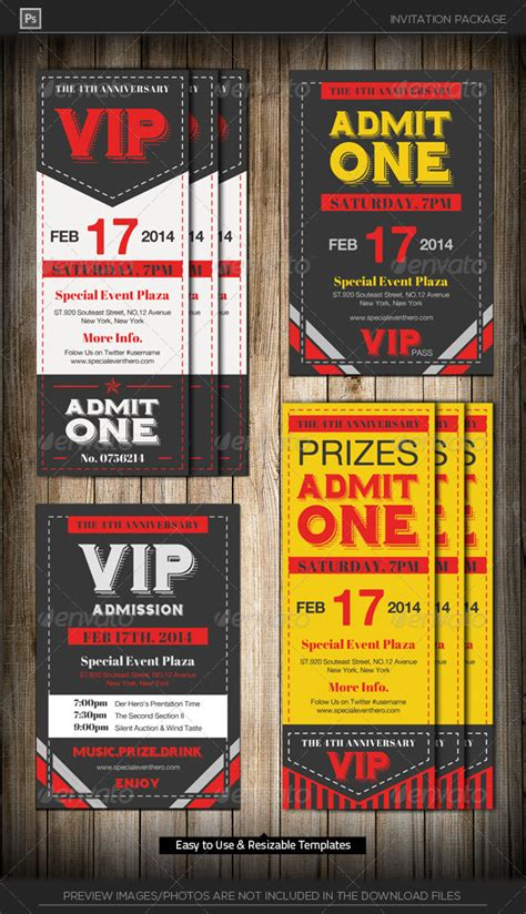 admit one vip ticket invitation template by katzeline