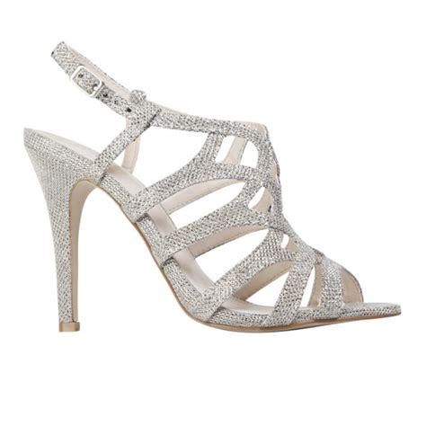 Vincci Heels Silver Sandal Polos by Miss Kg S Gertrude Glitter Strappy Heeled Sandals