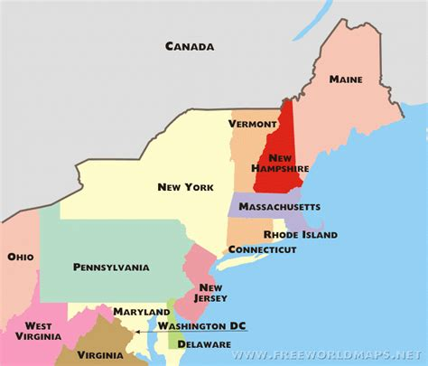 map of the northeast usa northeast states and capitals