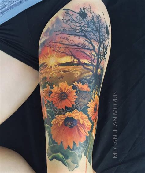 sunflower thigh tattoo sunflowers color thigh by me megan jean morris
