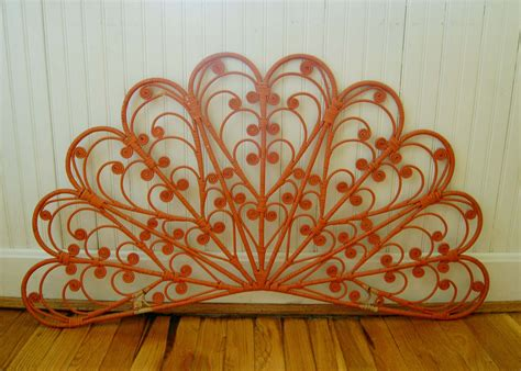 wall hanging headboard ideas vintage boho orange wicker headboard wall hanging