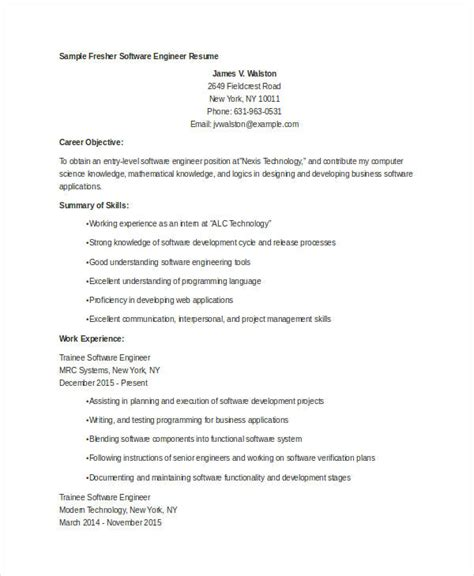 resume sle software engineer fresher 9 fresher engineer resume templates pdf doc free premium templates