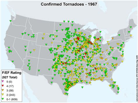 map of tornadoes today us tornadoes map1967 u s tornadoes