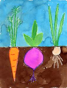 vegetable garden watercolor painting art projects for kids