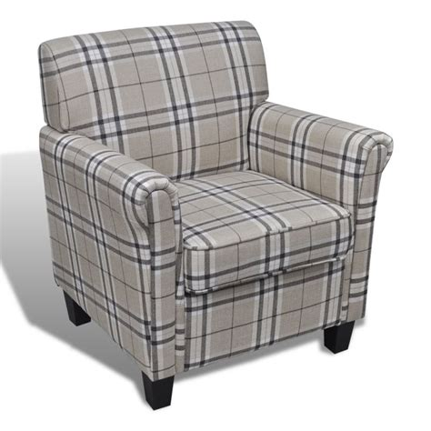 armchairs checked fabric plaid style polyester fabric sofa armchair in cream buy armchairs