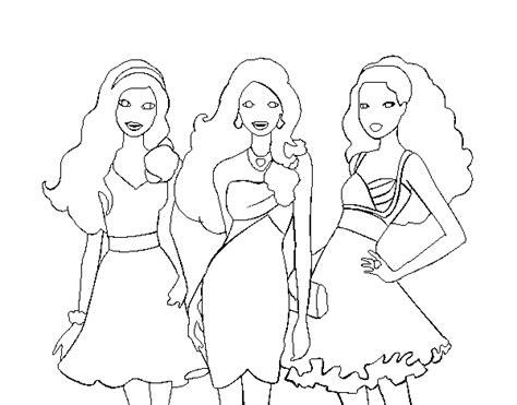 imagenes para amigas para dibujar dibujo de barbie y sus amigas vestidas de fiesta para
