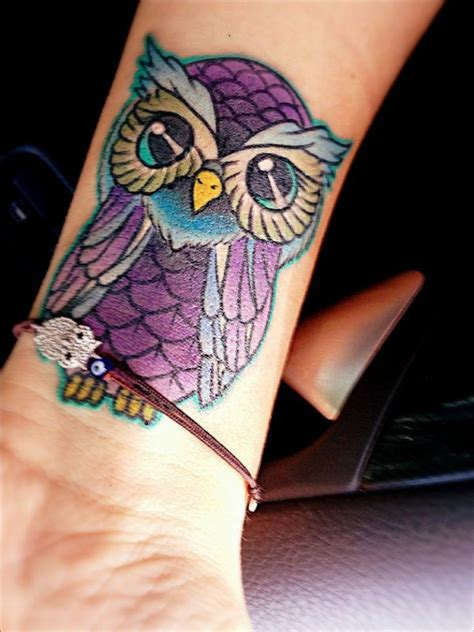 colorful owl tattoo designs 36 attractive owl wrist tattoos design