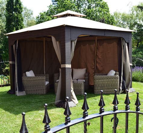 gazebo furniture regent 3 3m x 3 3m rattan weave gazebo weaves furniture