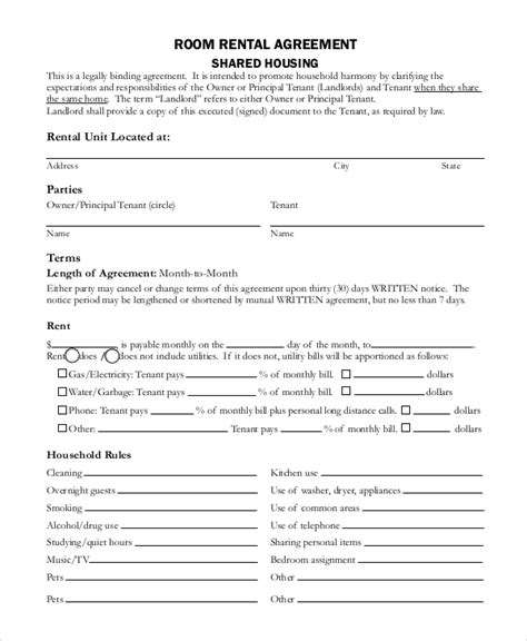 rental house lease agreement template sle basic rental agreement 8 exles in pdf word